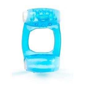 Голубое эрекционное кольцо c двумя вибропулями